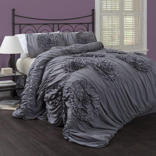Lush Decor Serena 3-Piece Comforter Set, King, Gray by Lush