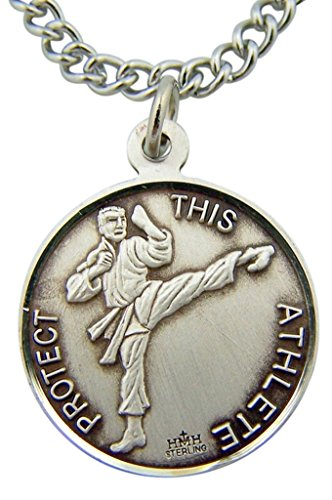 Religious Gifts Sterling Silver Saint St Sebastian Martial Arts Sports Athlete Medal Pendant, 15/16 Inch (Martial Arts Medal Pendant)
