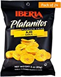 Iberia Garlic Plantain Chips (Pack of 24) 100% Natural, No Preservatives, No Artificial Flavors & Color, 0 Trans Fat, Plantain Chips with Natural Garlic