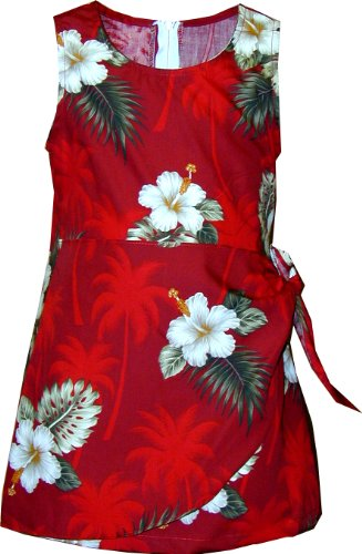 Pacific Legend Girls White Hibiscus Monstera Sarong Dress Red 8]()