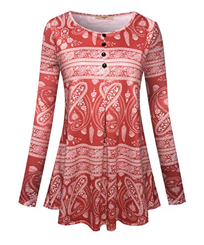 Luranee Tunic Tee Shirts for Women, Ladies Trendy Tops Scoop Neck Comfy Outfits Nice Soft Beautiful Classic Travelling Shopping Working Long Sleeve Everyday Wear Clothes Red XL ()