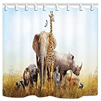 KOTOM Wild Animals Shower Curtain, Large Group of African Safari Animals, Polyester Fabric Bath Curtains with Hooks 69W X 70L Inches