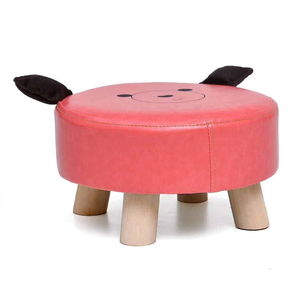 LFF Household Cartoon Leather Foot Stool Animal Cute Footstool Solid Wood Ottoman for Child (Color : Pink)