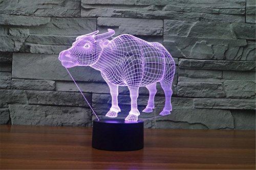 ATD Standing Buffalo Three-dimensional Illusion LED Colorful Gradient USB Energy Saving Indoor Decoration Desk Lamp ()