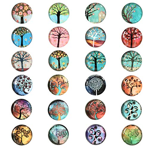 24 Pieces Beautiful Glass Refrigerator Magnets, Pretty Tree Fridge Magnets for Office Cabinet Refrigerator Whiteboard Photo