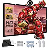Projector Screen[2019 Upgraded] 120 inch 16:9 HD 4K Movies Screen Highbrightness Portable Widescreen Foldable Anti-Crease Indoor Outdoor PVC Projector Movies Screen for Home Theater Match Party