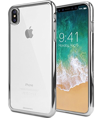 iPhone X / iPhone 10 Case, CASOKAZO [Metallic Edge Series] Soft Clear TPU with Elegant Shinny Metallic painting Edge, Ultra Thin Silcon Protective Case for Apple iPhone 10 (Silver Metallic Edge)