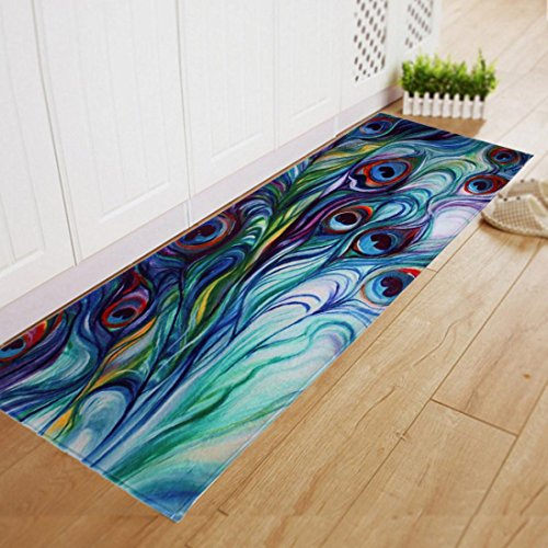 Makaor Floor Non Slip Mat Dining Room Carpet Shaggy Soft Area Rug Bedroom Rectangle Peacock Printing 40120CM Indoor/Outdoor (Size: about 40cm x 120cm, Multicolor)