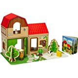 Hape Farm House Wooden Dollhouse Playscapes and Toys with Accessories