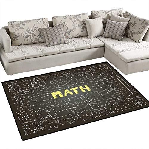Mathematics Classroom Decor Floor Mat for Kids Dark Blackboard Word Math Equations Geometry Axis Bath Mat Non Slip 55