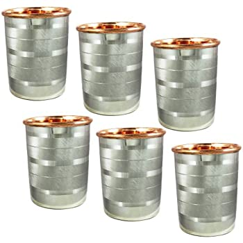 water drinking glasses set of 6 copper and stainless steel indian drinkware. Black Bedroom Furniture Sets. Home Design Ideas
