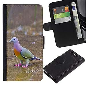 Planetar® Modelo colorido cuero carpeta tirón caso cubierta piel Holster Funda protección Sony Xperia Z1 Compact D5503 ( Tropical Bird Dove Green Ornithology )