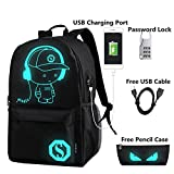 FLYMEI Anime Cartoon Luminous Backpack with USB Charging Port and Anti-theft Lock & Pencil Case, Unisex Fashion Daypack Shoulder School Rucksack Laptop Travel Bag College Bookbag, Black