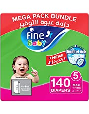 Fine Baby Diapers, DoubleLock Technology , Size 5, Maxi 11–18kg, Mega Pack. Pack of 2 each pack, each pack contain 70 diaper's