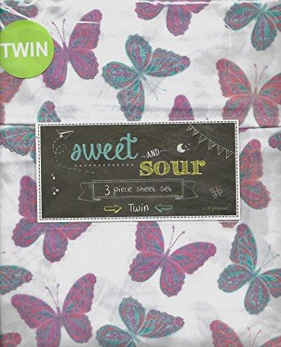 Sweet & Sour Flutter Butterfly 3 Piece Twin Sheet Set Pink Turquoise Butterflies Girls Bedroom
