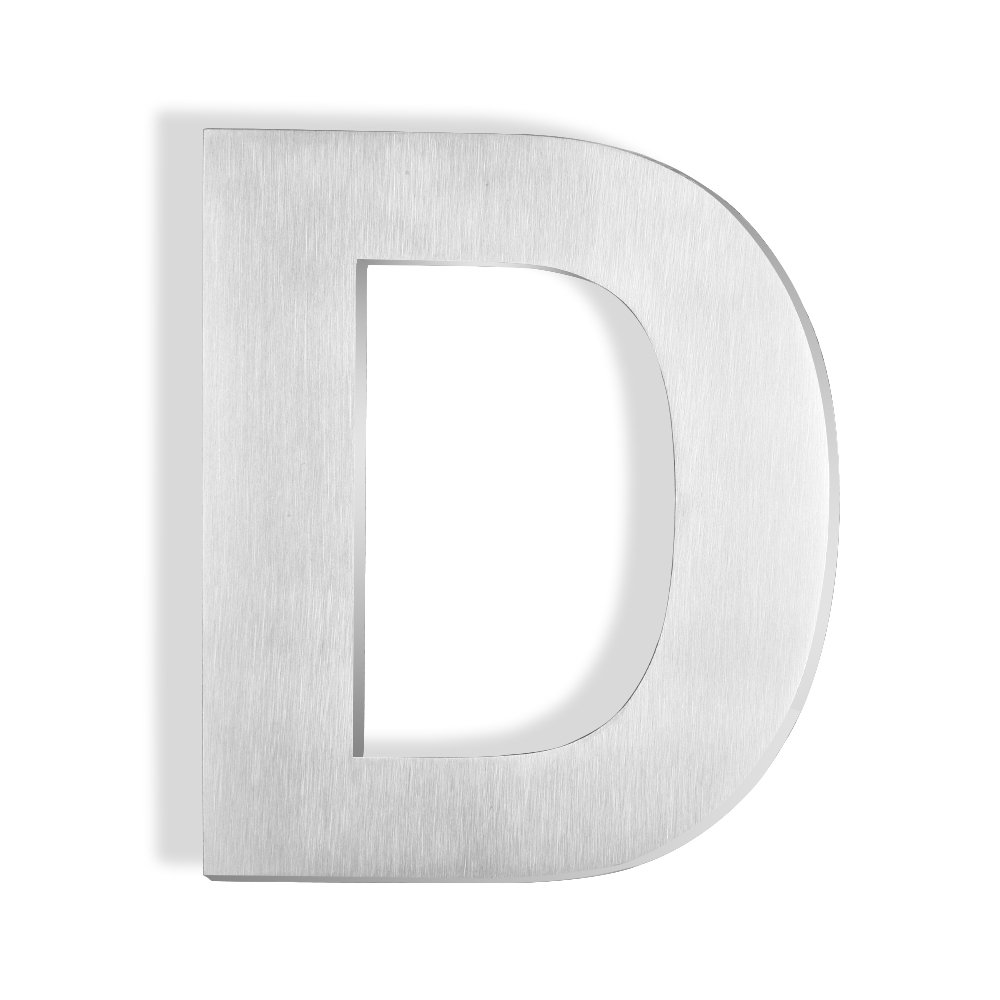 Mellewell Address Number Sign House Letter D 6 inches Brushed Nickel, Made of Stainless Steel 304, HN06-D