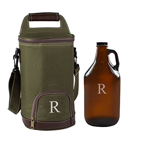 (Cathy's Concepts Personalized Insulated Growler Cooler with Amber Growler, Monogrammed Letter R)