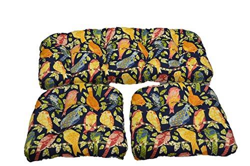 (Blue Orange Garden Birds Ash Hill Fabric Cushions for Wicker Loveseat Settee & 2 Matching Chair Cushions)