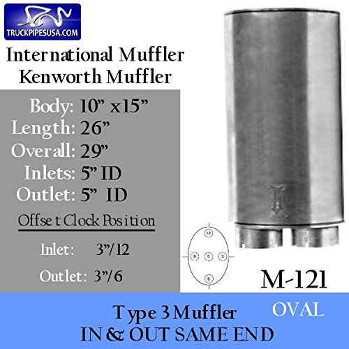"M-121 Type 3 Muffler 10"" x 15"" Oval 26"" Body 5"" Inlet Outlet"