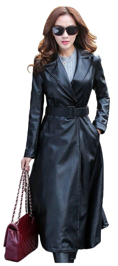 Elezay Women's PU Leather Slim Fit Long Coat Maxi Jacket Black 12