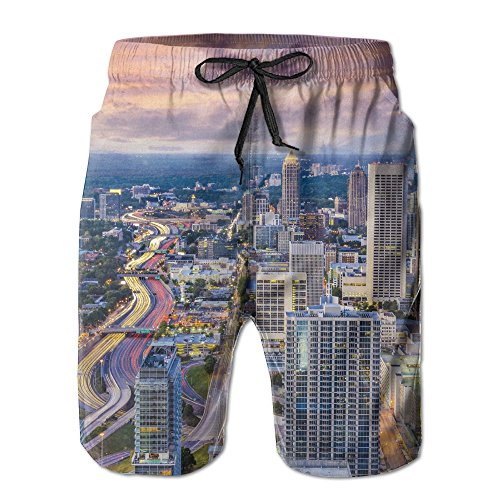 Richard-L Atlanta City Skyline At Sunset With Hazy Light Georgia Town American View Summer Quick Dry Board/Beach Shorts For Men - Sunset Times Georgia