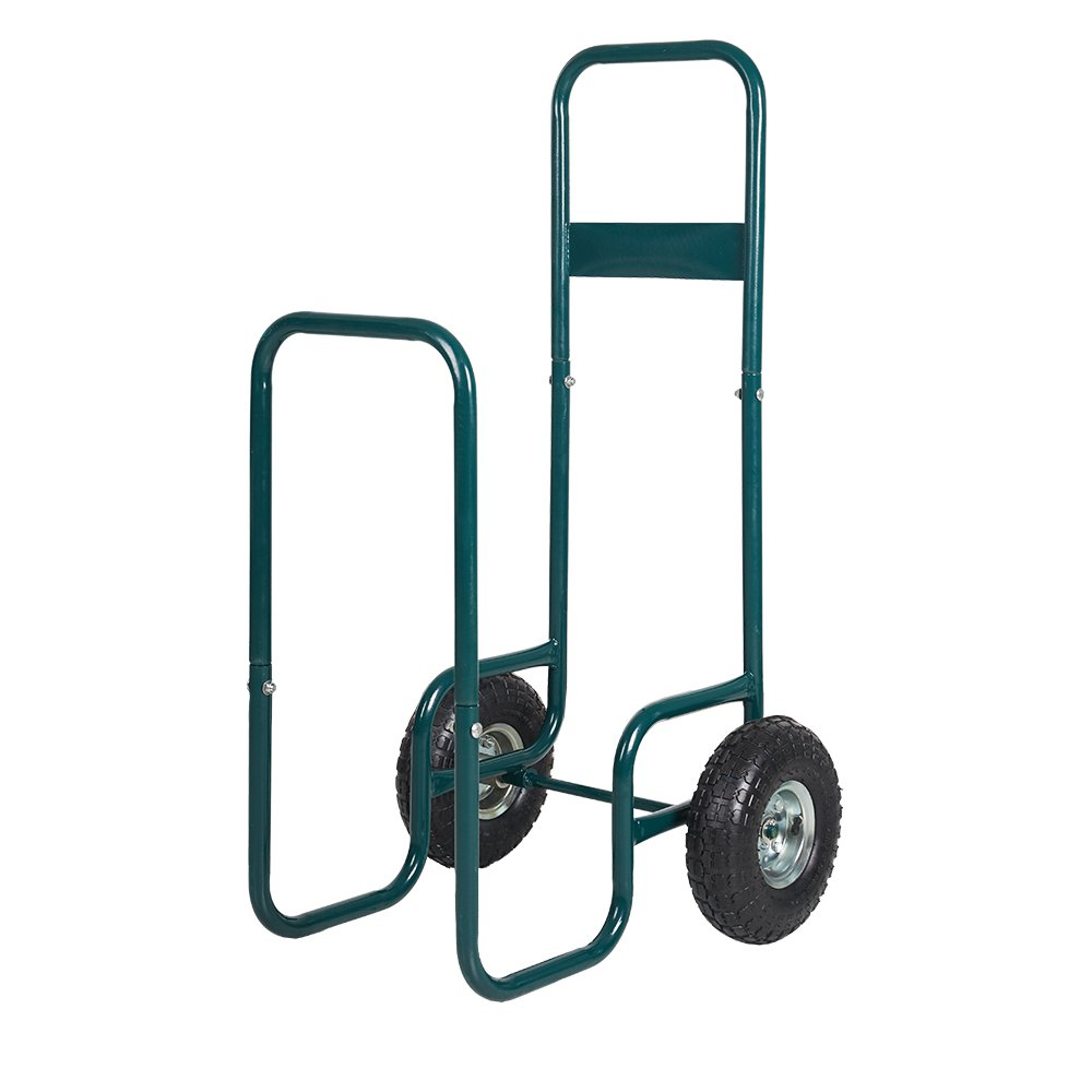Dporticus Rolling Wheeled Firewood Log Cart Portable Log Rack with Wheels for Backyard Patio Garden Green