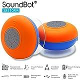 SoundBot SB510FM FM RADIO Water Resistant Bluetooth Wireless 5W Shower Speaker HandsFree Portable Speakerphone w/ Auto-Scan Tuner, 6Hrs Music Streaming, Built-in Mic, Detachable Suction Cup, Lanyard