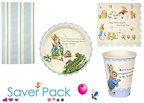 """Peter Rabbit party tableware saver pack for 12, 24, 36 or 48 guests - comes with a FREE """"It's My Birthday"""" wristband (48 Guests)"""