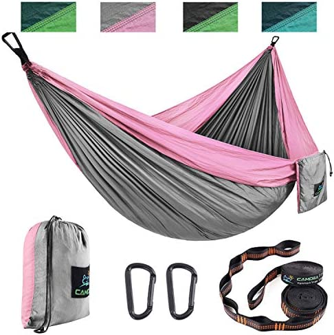 CAMDEA Double Camping Hammock with Tree Straps, Ultra Lightweight Portable Hammock, Hammock Tent Swing for Sleeping, Travel, Outdoor, Beach, Hiking, Lawn Gray Pink