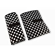 One Hand Fold Grab & Go Baby Diaper Changing Mat: Large, Portable, Padded, Waterproof, Wipe Clean Travel Change Station Pad by Contented Infant (Black with White Dots)
