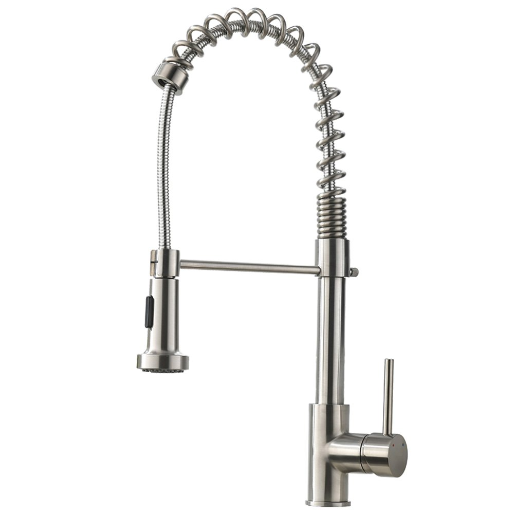VAPSINT Well Recommended Stainless Steel Spring Brushed Nickel Mixer Pre Rinse Pull Down Sprayer Single Handle Kitchen Faucet, Pull Out Kitchen Sink Faucet by VAPSINT