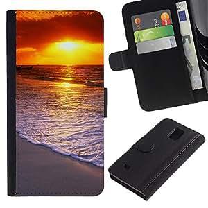 Planetar® Modelo colorido cuero carpeta tirón caso cubierta piel Holster Funda protección Para Samsung Galaxy Note 4 IV / SM-N910 ( Sunset Beautiful Nature 58 )