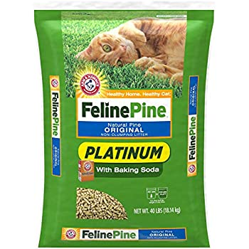 Feline Pine Platinum Natural Pine Original Non-Clumping Cat Litter, with Baking Soda, 40 lb
