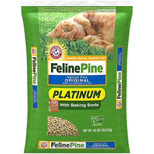 Feline Pine Platinum Natural Pine Original Non-Clumping Cat Litter, with Baking Soda, 40 lb