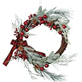 "DII CAMZ35914 Decorative Berries & Pine Needles 20"" Fall and Winter Wreath for Front Door or Indoor Wall Décor to Celebrate Thanksgiving & Christmas Season, Frosted Sprig Wreath, Frosted Sprig Wreath"