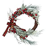 DII Decorative Berries & Pine Needles 20'' Fall and Winter Wreath for Front Door or Indoor Wall Décor to Celebrate Thanksgiving & Christmas Season
