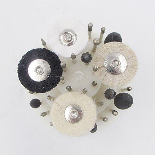 Yellow Hair Brush Diamond Burs Silicone Polishers 40 PCS low Speed Micro Polishing Drill Bits Include Tungsten Carbide Burr