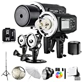 2 Pcs Godox AD600BM 600Ws GN87 1/8000 HSS Outdoor Flash Strobe Monolight with X1T-S Wireless Flash Transmitter, 8700mAh Battery, Portable Flash Head and other Useful Flash Accessories
