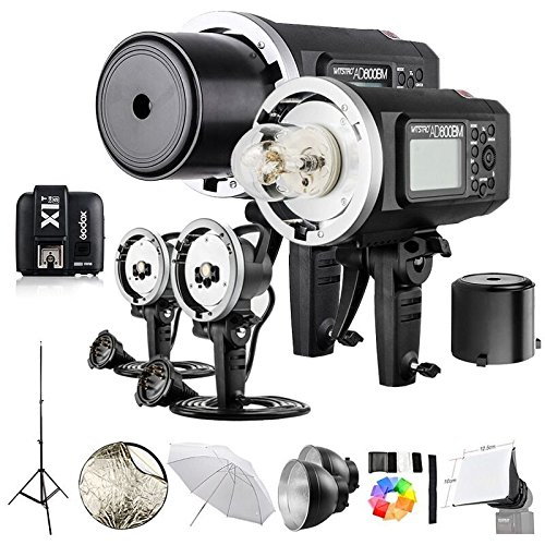 2 Pcs Godox AD600BM 600Ws GN87 1/8000 HSS Outdoor Flash Strobe Monolight with X1T-S Wireless Flash Transmitter, 8700mAh Battery, Portable Flash Head and other Useful Flash Accessories by Godox