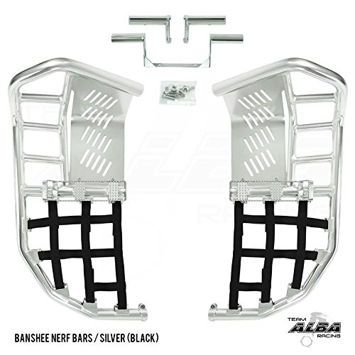 Racing Pro Peg Nerf Bars - Yamaha Banshee YFZ 350 (1987-2006) Propeg Nerf Bars Silver with Black Net (More Net Color Choices Available)