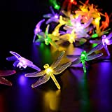 elegantstunning 20 LED 2M Solar Dragonfly Shape String Lights Waterproof Energy Saving Landscape lamp Outdoor Home Garden Patio Lawn Christmas Holiday Party Decorations