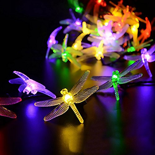 elegantstunning 20 LED 2M Solar Dragonfly Shape String Lights Waterproof Energy Saving Landscape lamp Outdoor Home Garden Patio Lawn Christmas Holiday Party Decorations by elegantstunning