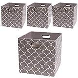 Collapsible Storage Cubes Organizer Basket Bin Container Shelf,Drawers,Cabinet, Closet,Chest (4, Grey Lantern Print)