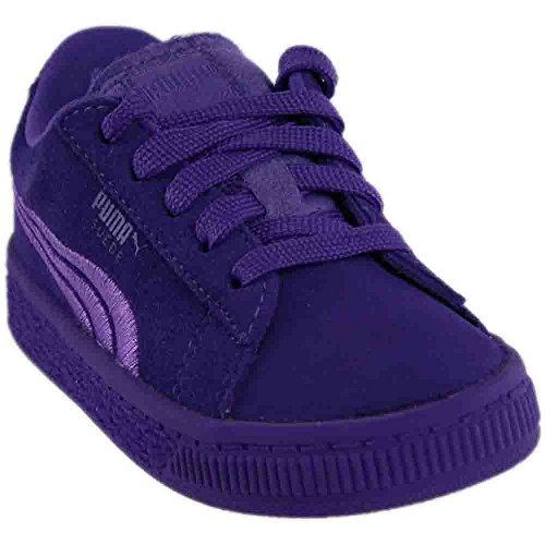 Purple Suede Kids Shoes - PUMA Girls' Suede Classic Badge Inf Sneaker, Electric Purple, 8 M US Toddler