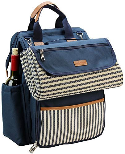 "INNO STAGE Wide Open Large Capacity Picnic Backpack for 4, with Insulated Cooler Compartment,9"" Plates,Wooden Handle Cutlery and Waterproof Blanket Navy Blue"