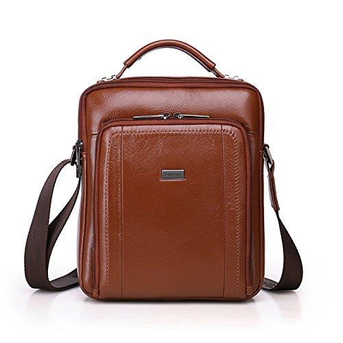 Tacnhen Men Genuine Leather Leisure Handbag Crossbody Bag Shoulder Bag
