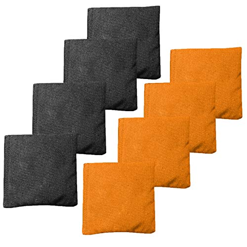 Play Platoon Premium Weather Resistant Duckcloth Cornhole Bags - Set of 8 Bean Bags for Corn Hole Game - Regulation Size & Weight - 4 Orange & 4 Black ()