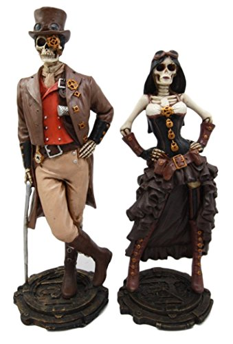 Atlantic Collectibles Steampunk Skeleton Lady & Gentleman Couple Figurine Skeleton Detective Inspector Sculpture Set of 2