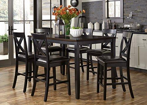 - Liberty Furniture Industries 464-CD-7GTS Black Finish with Brown Top Thornton II Dining 7-Piece Gathering Table Set Black