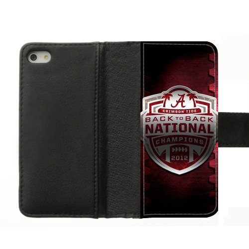 Generic Custom Extraordinary Best Design NCAA Alabama Crimson Tide Team Logo Diary Leather Case Cover for iPhone5 iPhone5S,With Credit Cards